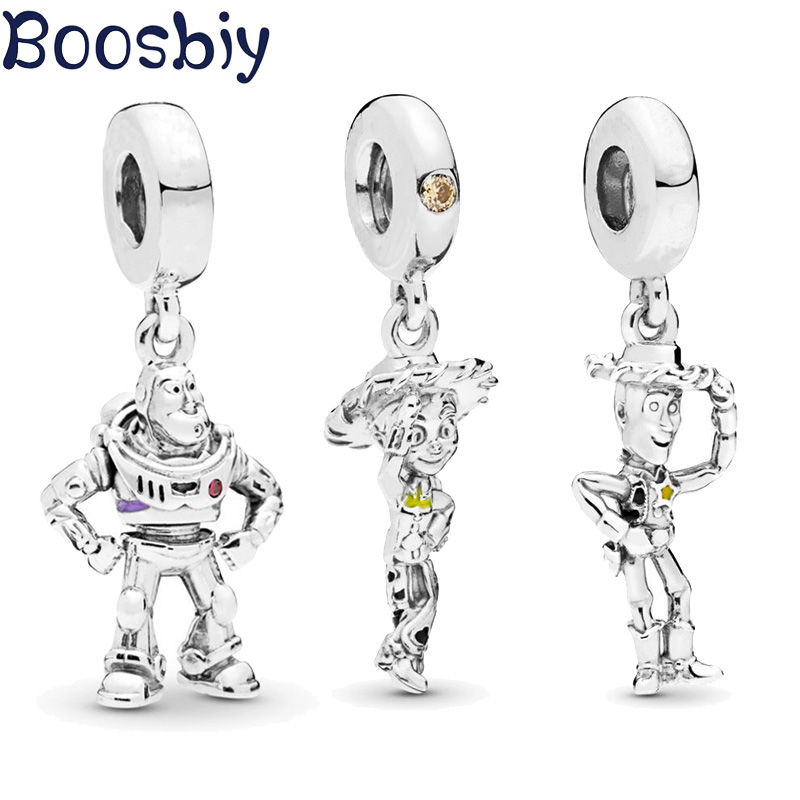 Boosbiy 2pc 2019 New Arrival Silver Beads Toy Story Buzz Lightyear Pendant Charm fit Original Pandora Bracelet Women DIY Jewelry