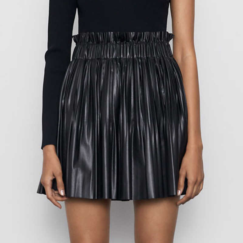 RR Pleated Mini Skirts Women Fashion Loose Solid Skirt Women Elegant Elastic Waist Lined Skirts Female Ladies HAA