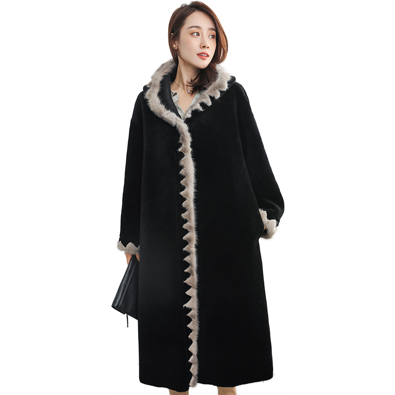 Fur Women's Coat Natural Mink Fur Trim Sheep Shearing Jacket Women 2020 Long Real Wool Coats Winter Jackets Hood ZZH1830 S S