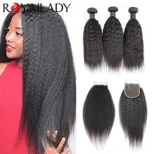 Hair-Extensions Bundles Closure Human-Hair Straight Kinky with Brazilian Yaki Lace Remy