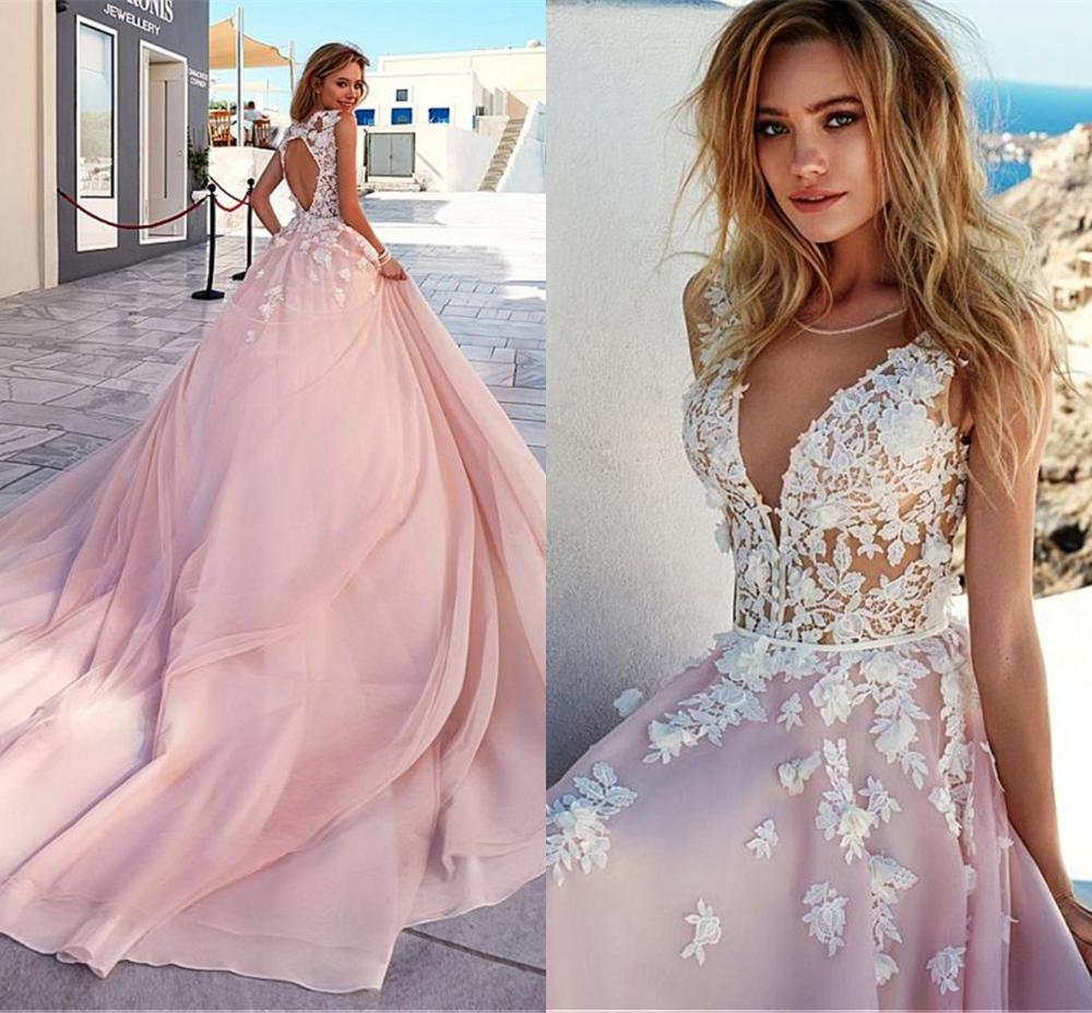 Popular V-Neck A-Line Wedding Dresses With 3D Beaded Handmade Flowers Cut-out Open Back Long Train Pink Bridal Dress Vestidos