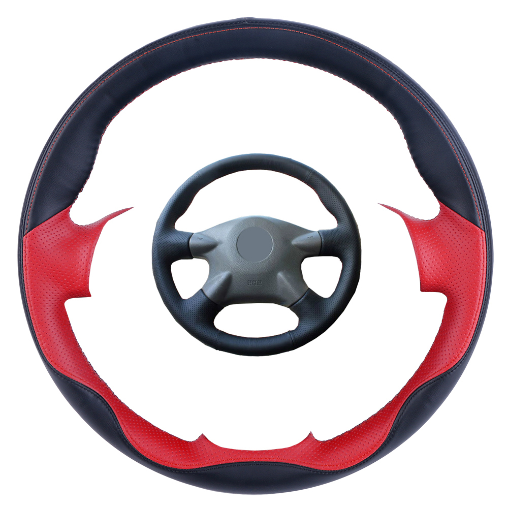 For Nissan Soft Grip Grey Black Leather Effect Car Steering Wheel Cover