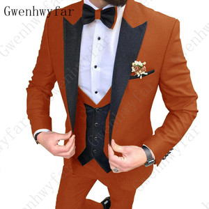 Image 2 - 2020 Latest coat pants designs Brown men suit Slim fit elegant tuxedos Wedding business party dress jacket+vest pants terno