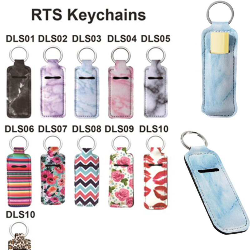 1PC Neoprene Chapstick Holders Lipstick Cases Cover Portable Balm Holders Marble Style Keychain Party Gifts