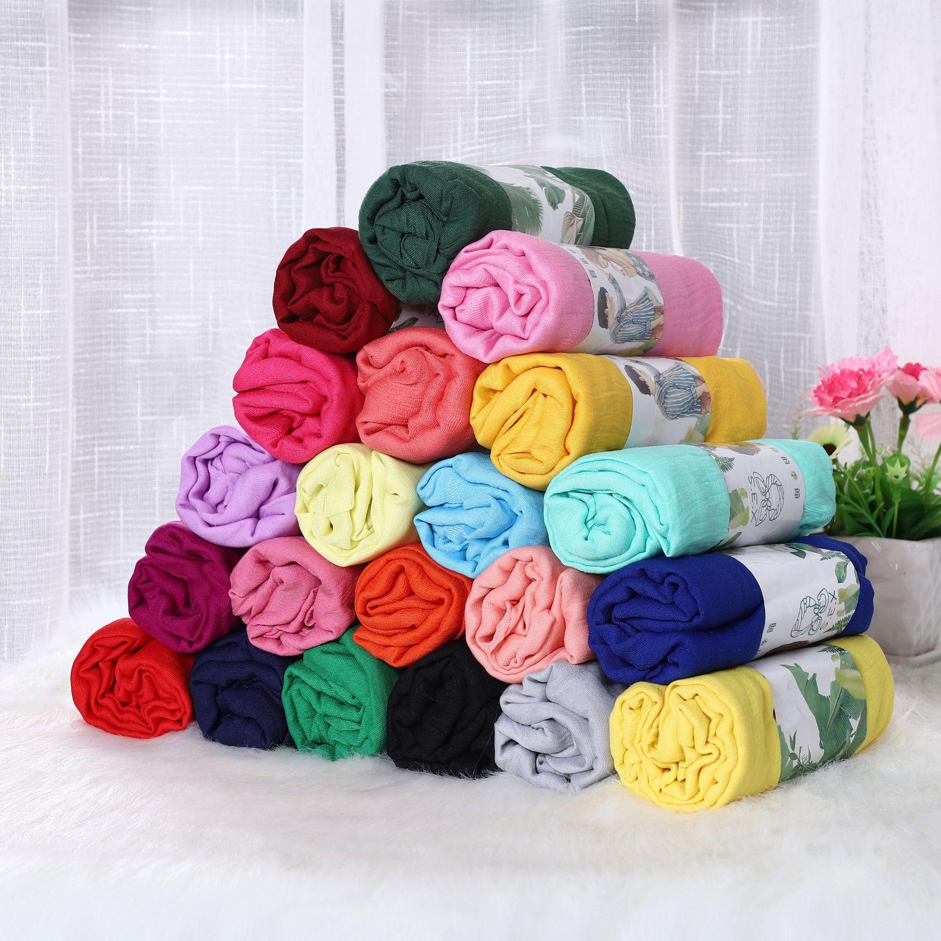50 X 180cm Muslim  Scarf Shawl And Wrap Cotton Crinkled Hijab Solid Large Size Islam Foulard Turban For Women Headscarf
