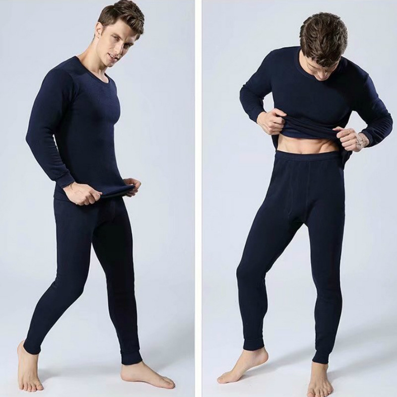 Winter Thermal Underwear Men's Round-neck With Fleece Lining Long Sleeve Base Shirt Teenager Thermal Underwear Autumn And Winter
