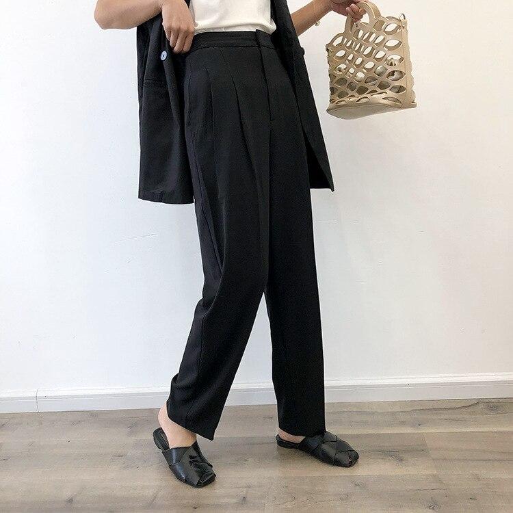 Zmra Autumn And Winter Korean-style WOMEN'S Wear Solid Color Harem Pants High-waisted Suit Skinny Pants Capri Pants Radish Pants