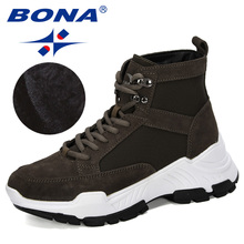 BONA 2019 New Designers Suede Winter Shoes Women Snow Boots Platform Keep Warm Ankle Boots Ladies Thick Heels Plush Botas Mujer