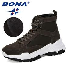 BONA 2019 חדש מעצבי זמש חורף נעלי נשים מגפי שלג פלטפורמת לשמור חם קרסול מגפי גבירותיי עבה עקבים קטיפה Botas mujer