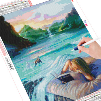 HUACAN Diamond Painting Cross Stitch Waterfall Full Square Diamond Embroidery Sale Portrait Room