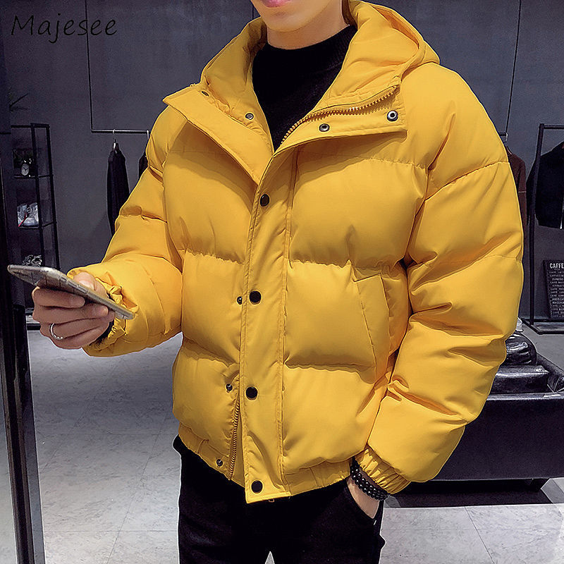 Parkas Men Single Breasted Loose Hooded Winter Coats Warm Outerwear Large Size Mens Casual Solid Korean Style Thicker Students
