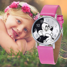 Reloj Minnie Reloj Carton Mouse Watch Fashion Girls Mickey Mouse Quartz Childrens Watches Cartoon Casual Leather Clock Boys Kids цена и фото