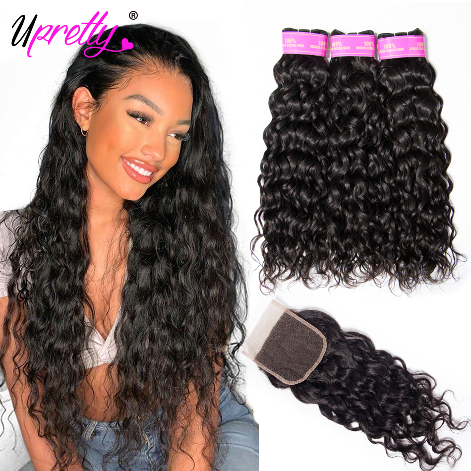 Upretty Water-Wave-Bundles Weave Closure Wavy Brazilian-Hair with Wet And title=