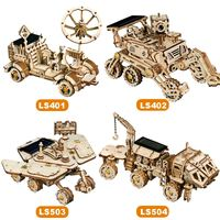 4 Kinds 3D Puzzle Wooden DIY Model Building Kits Toy Kids Space Hunting Solar Energy Toys Children Gifts 2020 New