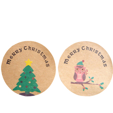 120 Pcs/lot Trees Owl  Merry Christmas DIY Scrapbooking Sealing Stickers Round Kraft Paper Labels Handmade Party Gift box