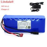 Liitokala 36 v 6ah 10s3p 18650 bateria recarregável  bicicletas modificadas  proteção do veículo elétrico com pcb + 42 v 2a carregador