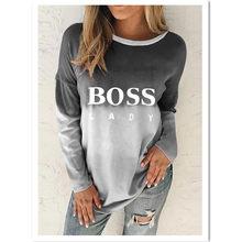 Camisa feminina t 2021 primavera nova moda carta impressa em torno do pescoço pulôver magro-ajuste cinza camisa de fundo de mangas compridas