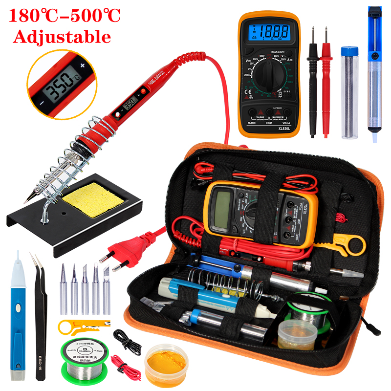 Handskit Temperature Electric Soldering Iron Kit 110V 220V 80W Soldering Iron kit With Multimeter  Welding Tool Kits