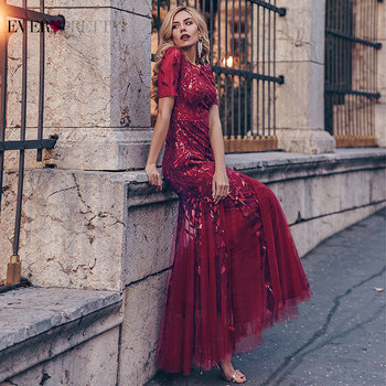 Formal Evening Dresses 2020 Ever Pretty New Mermaid O Neck Short Sleeve Lace Appliques Tulle Long Party Gowns Robe Soiree