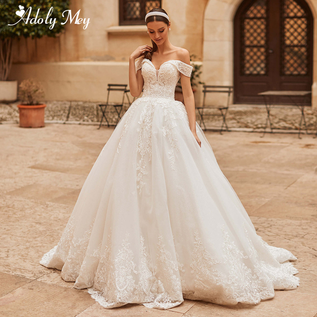 Adoly Mey Gorgeous Appliques Sparkly Tulle A-Line Wedding Dress 2021 Luxury Sweetheart Neck Beading Lace Up Princess Bridal Gown 1