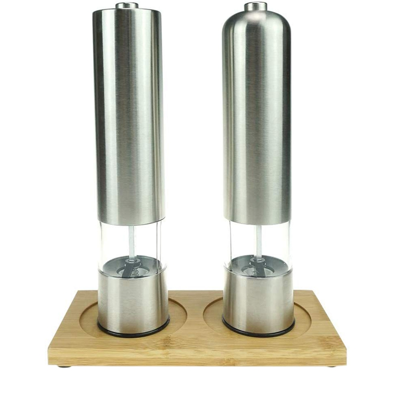 2 Pcs Set Electric Pepper Grinder or Salt Grinder Automatic Battery Operated Stainless Steel Salt Mills or Pepper Mills|Mills| |  - title=