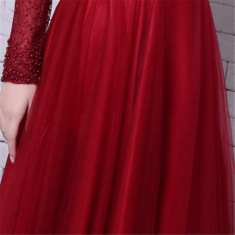 É yiiya vermelho mangas compridas miçangas sem costas tule flor rendas até festa de luxo vestido formal até o chão vestidos de noite lx062