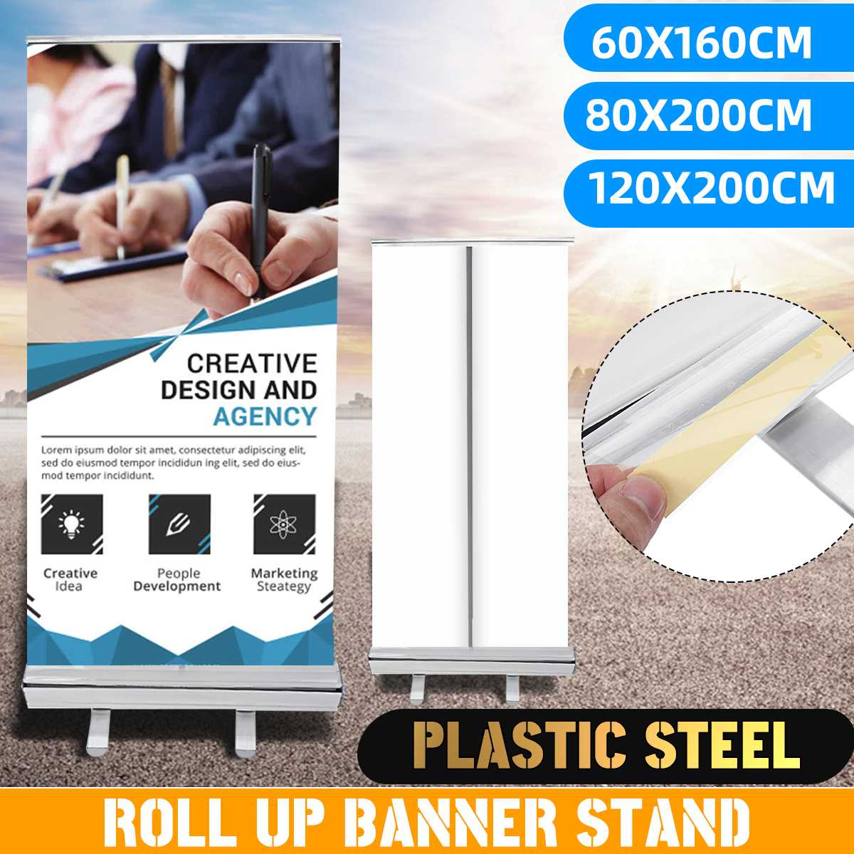 Plastic Steel Advertisng Poster Floor Stand Holder Portable Roll Up Banner Display Rack Show Display Stand Bag Kit 3 Sizes