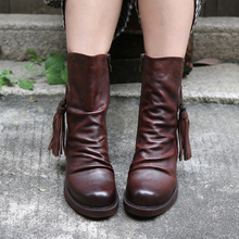 Original High-end Genuine Leather Retro Women Boots Handmade Zipper Fringe Pleated Mid-calf Boots Round Toe Comfortable Shoes цена