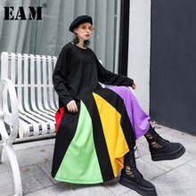 [EAM] Women Colorful Striped Hem Big Size Dress New Round Neck Long Sleeve Loose Fit Fashion Tide Spring Autumn 2020 1D621