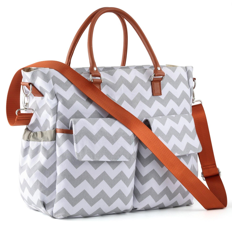 Hot Selling Multi-functional Large-Volume Diaper Bag Wave Pattern MOTHER'S Bag Waterproof Canvas Handbag Customizable Logo