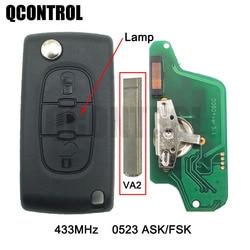 QCONTROL Flip Remote Key 3BT for PEUGEOT Partner 807 307 207 407 308 CC Expert SW Lamp/Light Button (CE0523 ASK/FSK, Blade VA2)