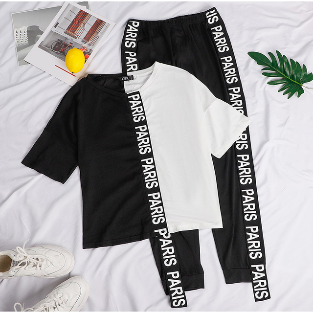 Letter Print Off Shoulder Tracksuit Women's Set Two Piece Sets Short Sleeve Colorblock Top and Pants Suit Summer Long Pants Sets 4