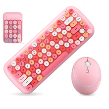 Jelly Comb Wireless Keyboard Mouse Combos for Desketop Laptop Notebook 2.4G Wireless Number Pad Pink Girl Keyboard and Mouse