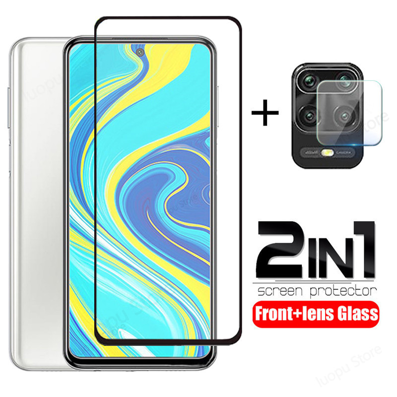 2 in 1 tempered glass for redmi note 9 pro note 9s pro max screen protector camera lens protective glass for redmi note 9s glass(China)