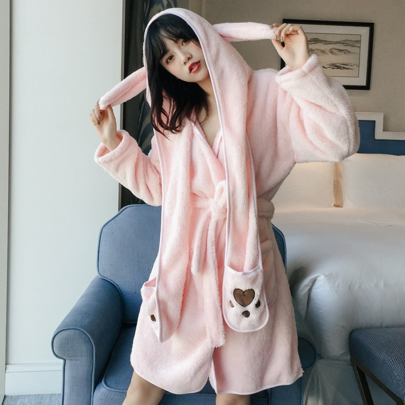 Autumn and winter cute cartoon hooded coral fleece nightgown two-piece ladies pajamas coral fleece home service removable