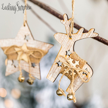 Wooden Ornaments Christmas Star & Tree Elk Pendant Ornament Party Gift DIY Hanging