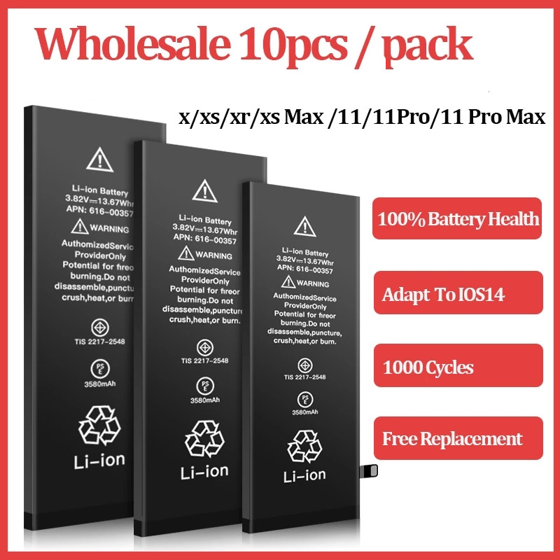 10pcs/lot 0 cycles Battery For Apple 6S 6 7 8 Plus 5S 5 SE 6Plus 7Plus X XS 11 Pro Max Replacement Bateria For iPhone 6S 7