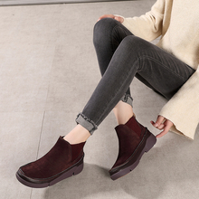 2019 VALLU Autumn Winter Women Ankle Boots Natural Leather Handmade Simple Style Comfort Female Platform Flat Casual
