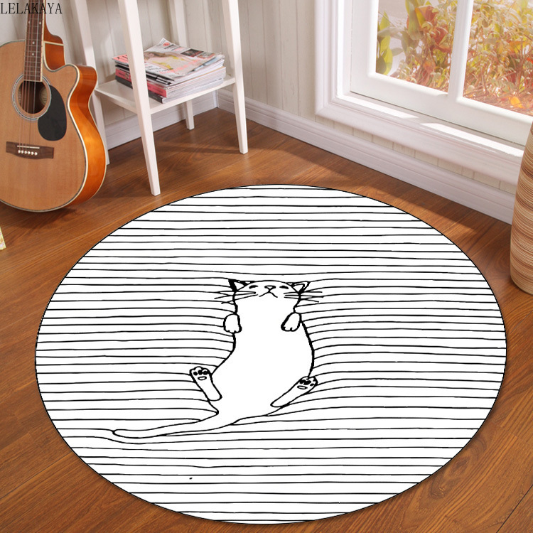 1PCS Cartoon Printed Soft Round Carpet For Living Room Bathroom Decoration Anti-slip Rug Polyester Creative Play Mats Floor Doll