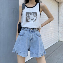 High Waist Wide Leg Denim Shorts For Women 2020 Summer New Arrival Sky Blue Button Up High Quality Casual Bermuda Shorts Jeans(China)