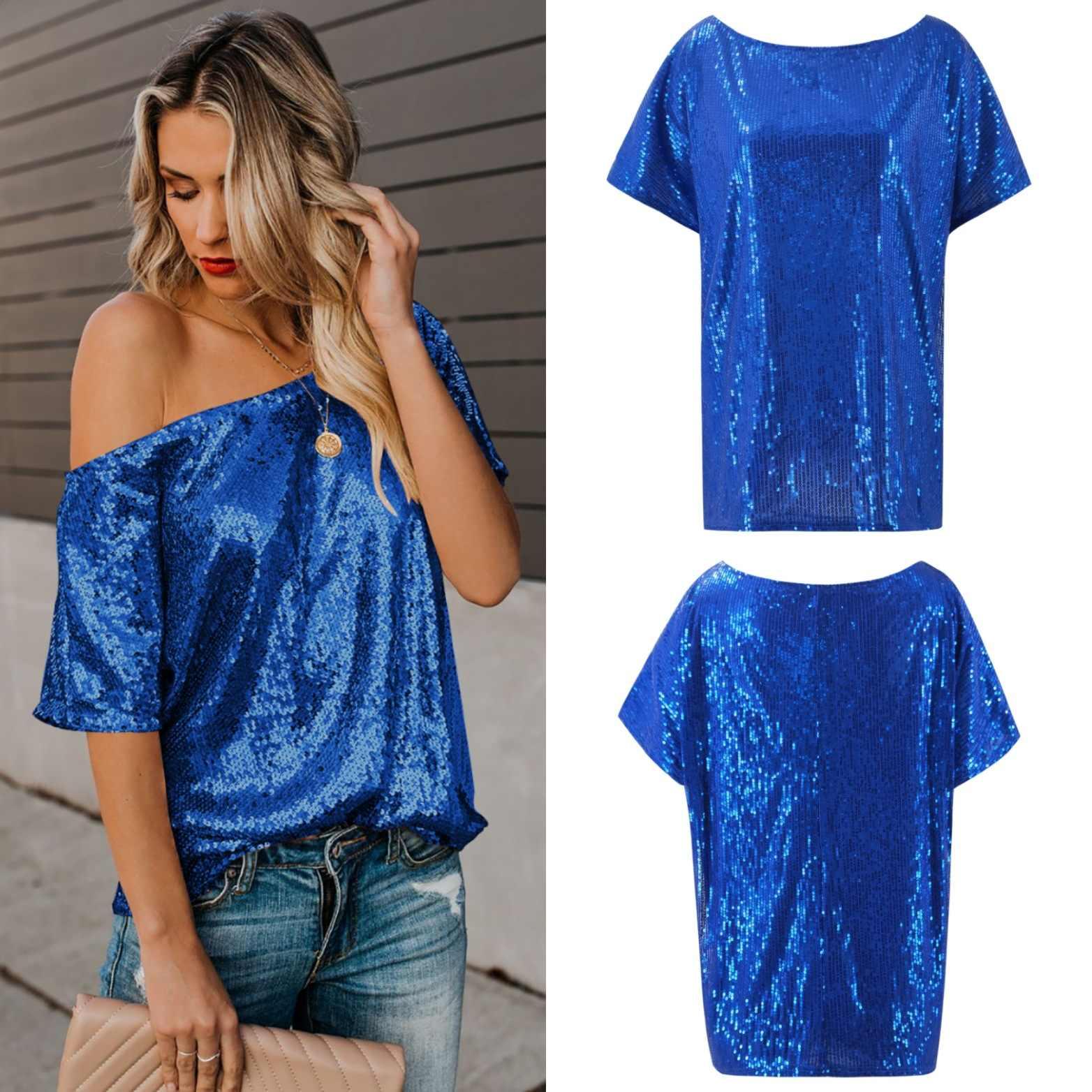 Sequin shirt silver sequin top Tee club Vrouwen Shirt Camiseta Mujer 2019 Verano Korte Mouwen blusas feminina Roze Zwart Goud blauw