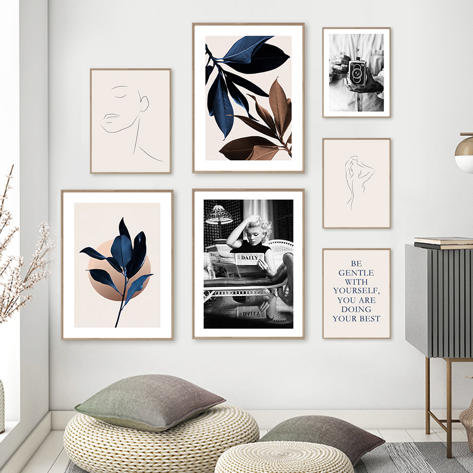 Simple Lines Vintage Camera Marilyn Monroe Magnolia Wall Art Painting Nordic Posters Prints Wall Pictures For Living Room Decor