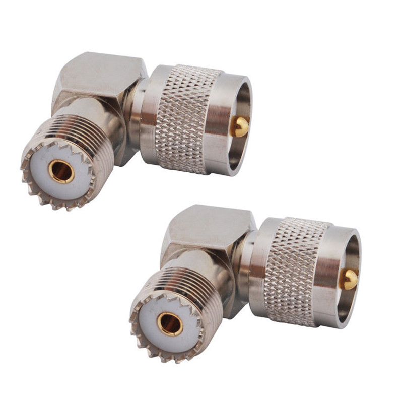 "RF coaxial coaxial adapter UHF male PL259 to female so239 right angle connector PL 259 male to SO 239 female 90 degree ""L"" conne