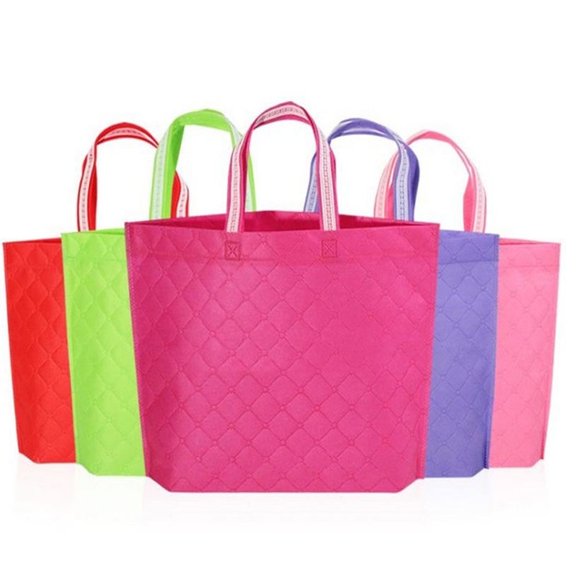 Reusable Non-woven Fabric Shopping Bag Eco Environmental Tote Handbag Folding Grocery Bag Plaid Pattern Solid Color Recycle Bag