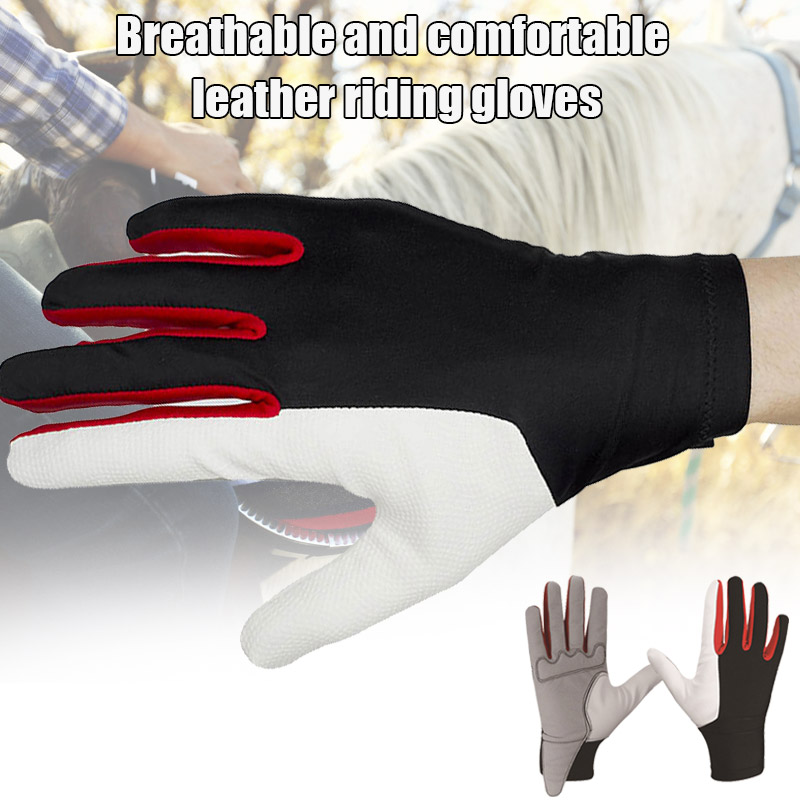 Riding Gloves Horse Gloves Equestrian Training Golf Breathable Comfort PU Leather Riding Glove