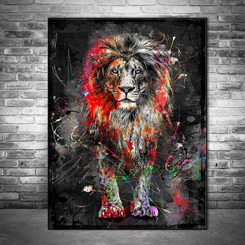 Abstract Graffiti Art Lion Painting Printed on Canvas 4