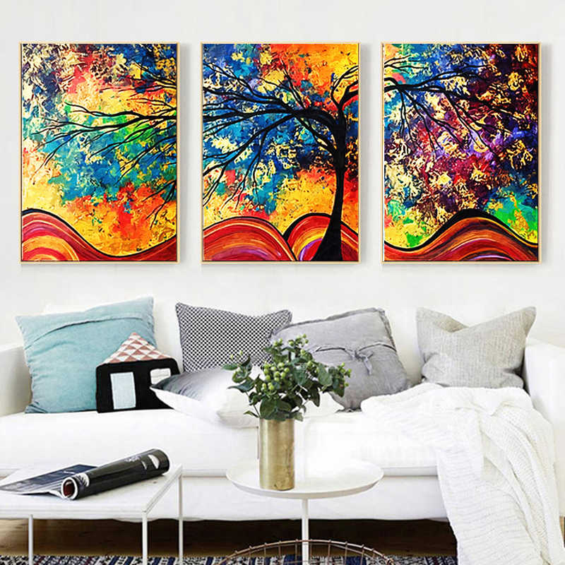 Yuke Art Wall Art Canvas Painting Colourful Leaf Trees abstract Picture Wall Art Poster For Living Room Home Decoration