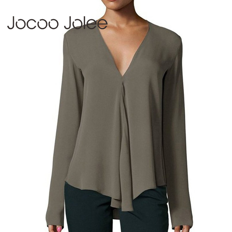 Jocoo Jolee Autumn Vintage Women Chiffon Blouse Shirt V-Neck Long Sleeve Female Tunic Casual Plus Size Blouse Women Tops 6XL