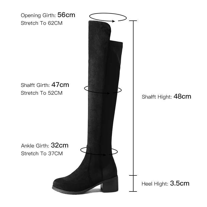 Kadınlar için diz çizmeler üzerinde 2019 kış uyluk yüksek çizmeler süet bayanlar siyah uzun patik elastik 4cm blok topuklu boyutu 34-43 A221