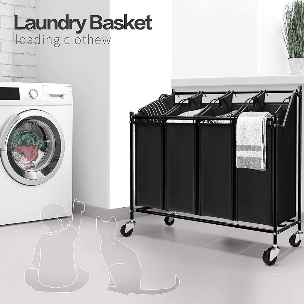 Laundry Basket Organizer Toy Storage Box Laundry Sorter Four Grid Home Laundry Hamper Sorter Trolley On Wheels DIY